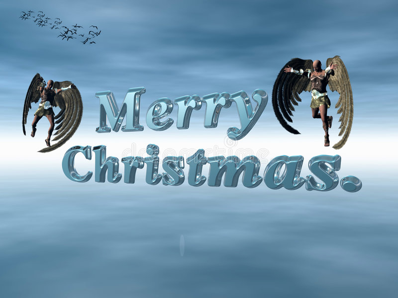 Merry Christmas in heavenly sky with angels. stock illustration