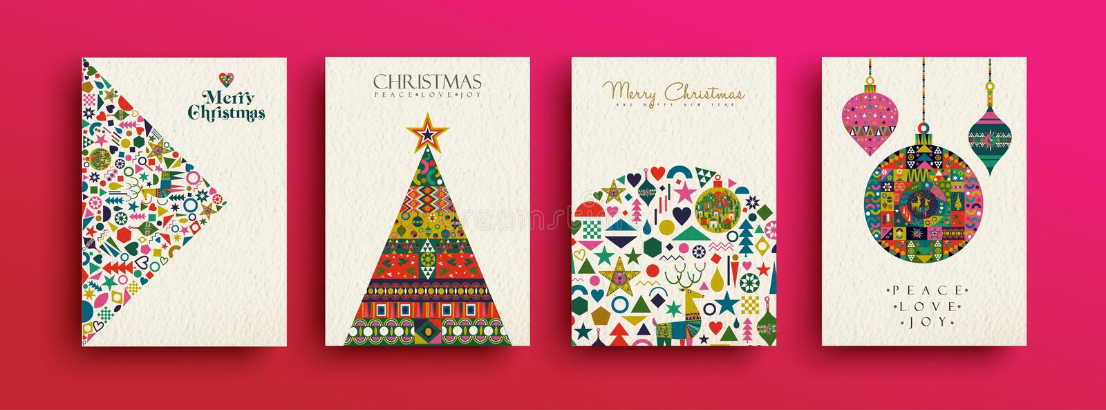 Merry Christmas retro folk art card collection stock illustration