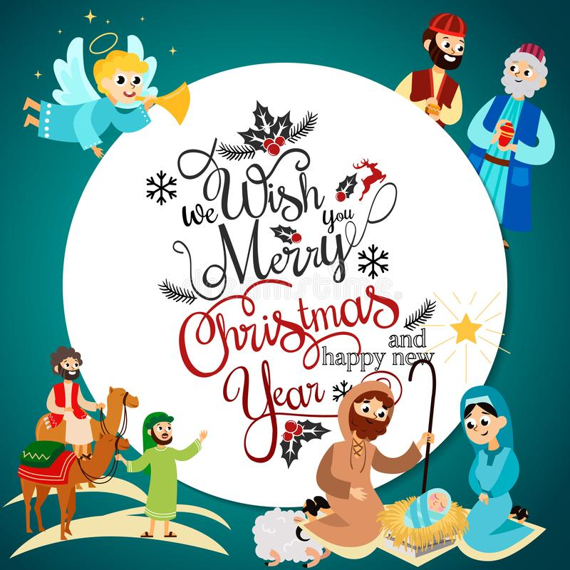Merry Christmas holiday set of flying angel and Jesus Christ story vector illustration