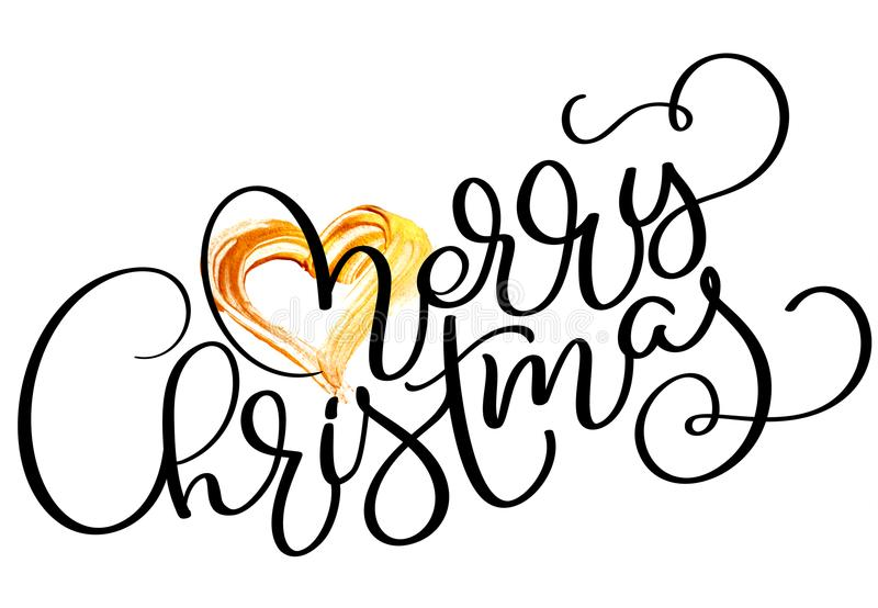 Download Merry Christmas Holiday Text With Gold Heart Hand Drawn Calligraphy Lettering Vector Illustration EPS10