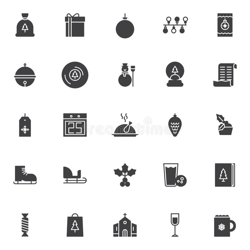 Merry Christmas holiday vector icons set royalty free illustration