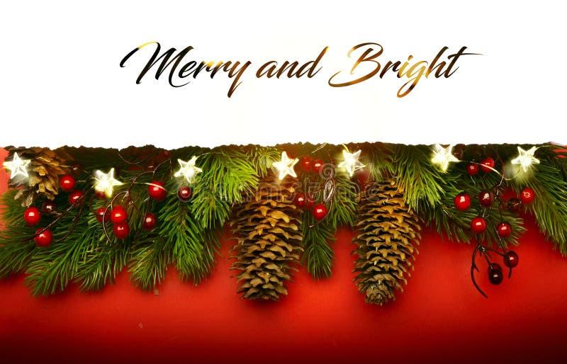 Merry Christmas; Holidays background with Xmas tree decoration stock photography
