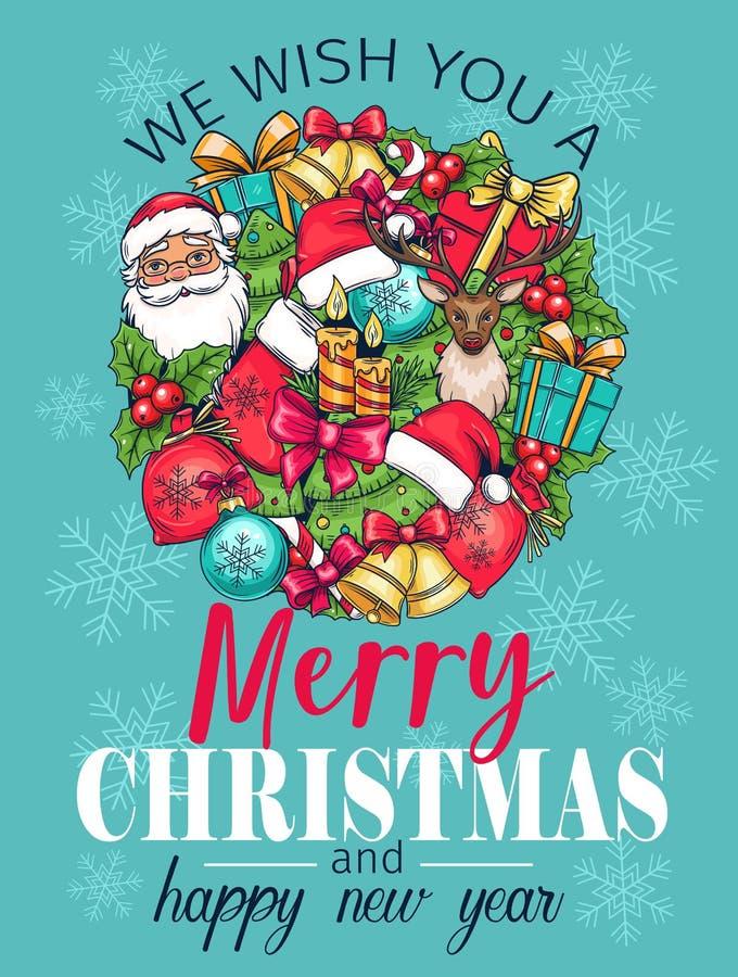 Merry Christmas holidays greeting card royalty free illustration