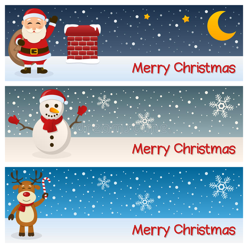 Merry Christmas Horizontal Banners. A collection of three horizontal banners wishing a merry Christmas, with Santa Claus near a chimney, a snowman and a funny