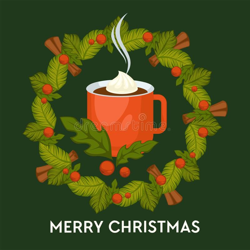 Merry Christmas, hot drink with cinnamon in mug vector. Warm coffee beverage with melting marshmallow. Candies lollipop and cookies made of ginger, traditional royalty free illustration