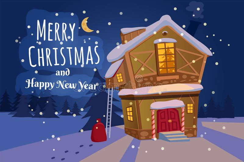 Merry Christmas and Happy New Year village house with snow fall. Vector, cartoon style, poster, card, baner, background. Merry Christmas house village with snow stock illustration