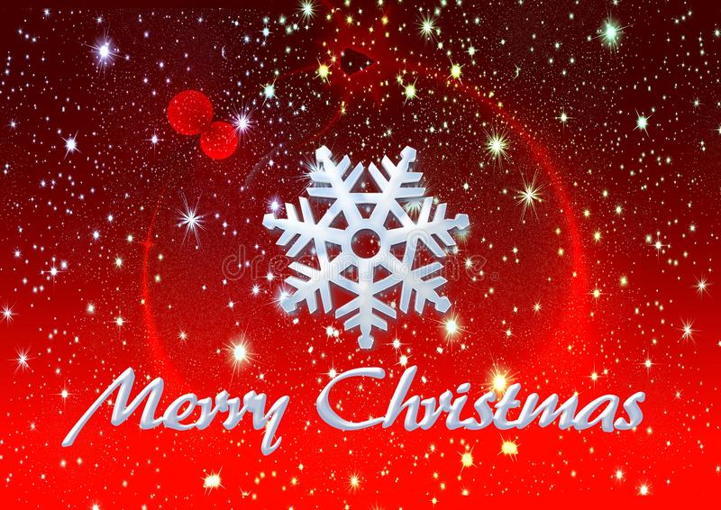 Merry Christmas ice snow and stars, background stock image