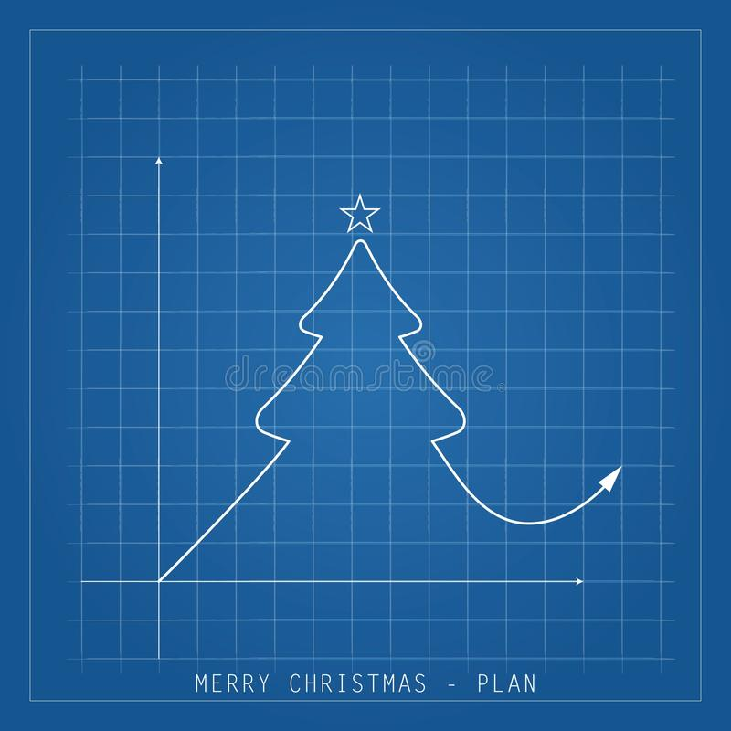 Merry Christmas illustration card. Tree drawing blueprints on a royalty free stock photos
