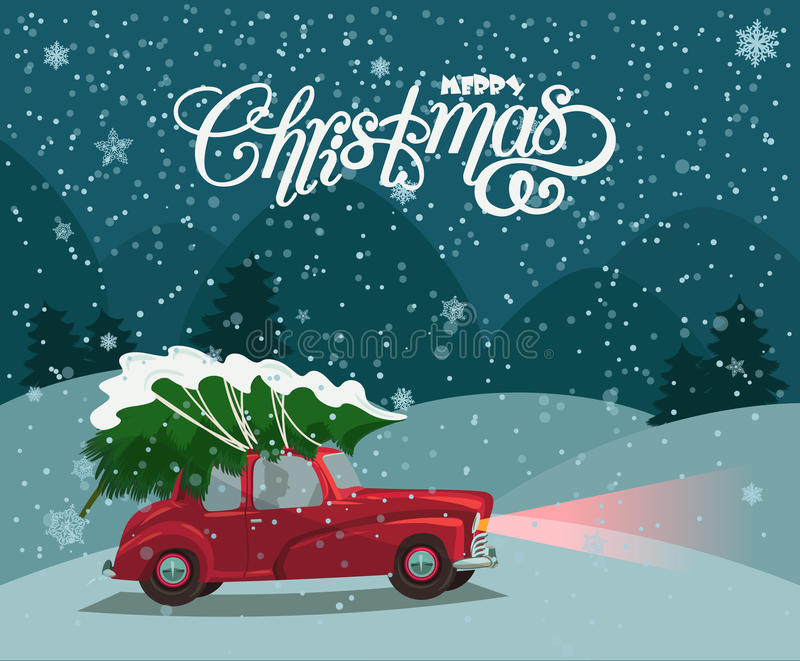 Merry Christmas illustration. Christmas landscape card design of retro red car with tree on the top. royalty free illustration
