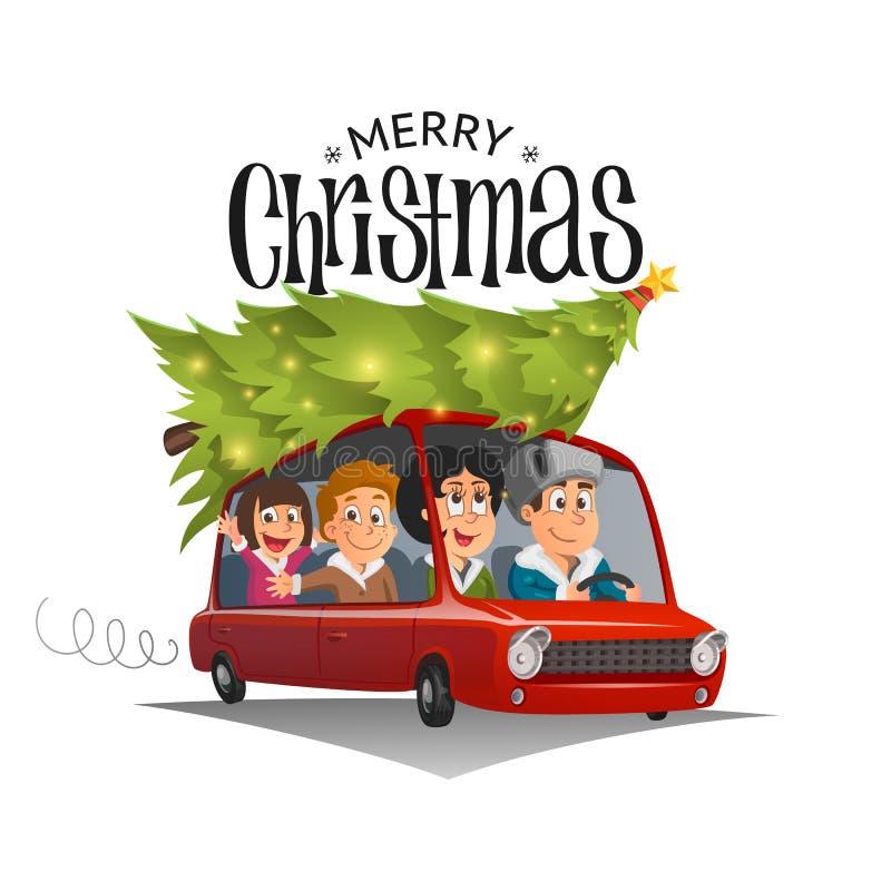 Merry Christmas illustration, family holidays on car stock illustration