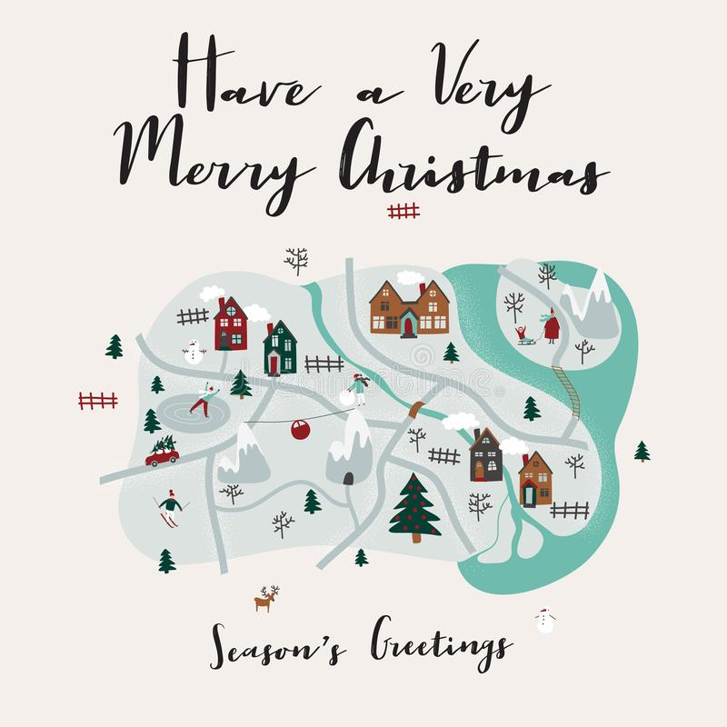 Merry Christmas illustration with map of cartoon town and small characters. Greeting card design with hand drawn lettering vector illustration