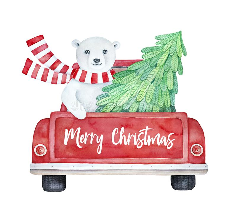 `Merry Christmas` illustration with red vintage truck and cute polar bear. vector illustration