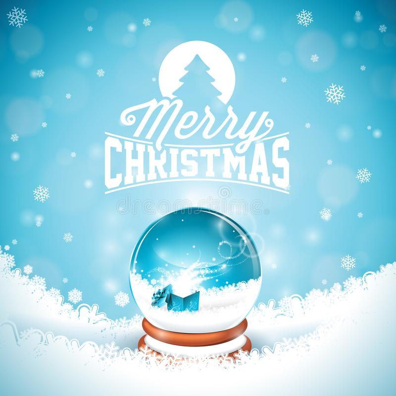 Merry Christmas illustration with typography and magic snow globe on winter landscape background. Vector Christmas royalty free illustration