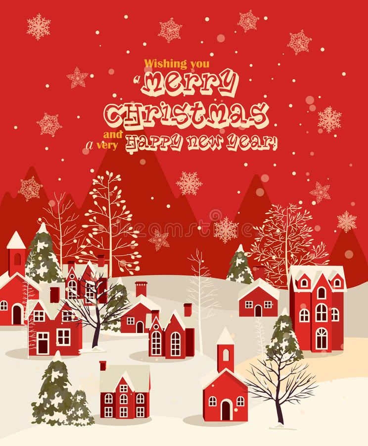 Free Merry Christmas Illustration. Winter Landscape. Royalty Free Stock Photography - 64020837