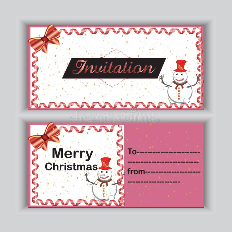 Merry Christmas invitation card with a creative design royalty free illustration