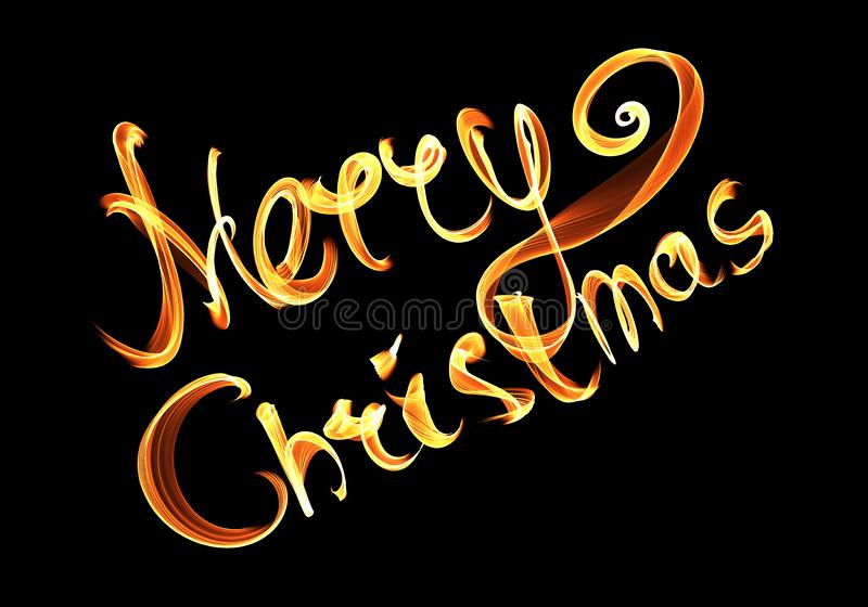 Merry Christmas isolated text written with flame fire light on black background. Violet and Yellow color.  vector illustration