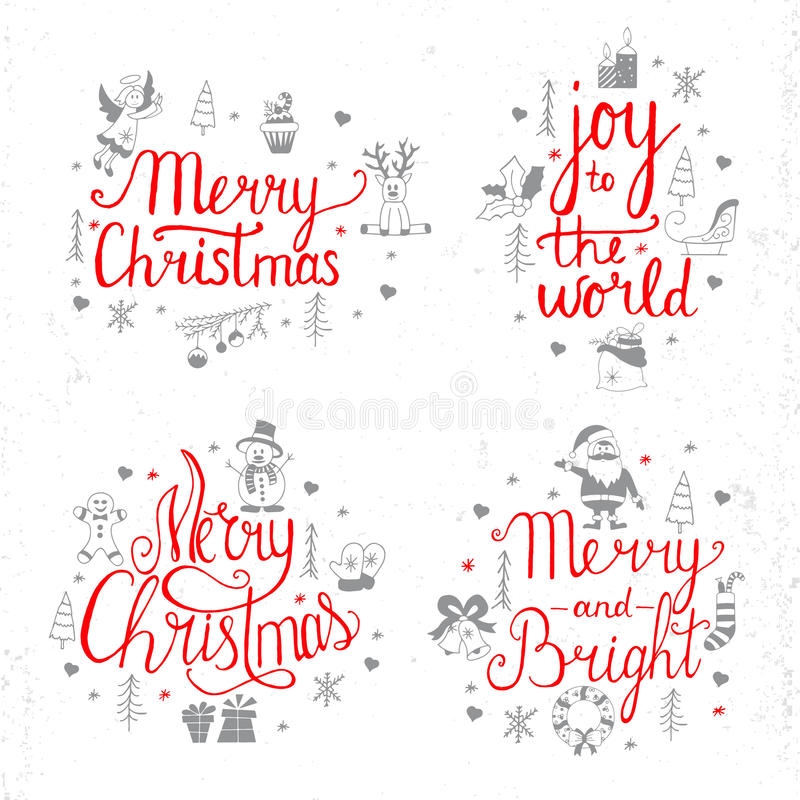 Merry Christmas, Jolly, Holly, Joy to the world Lettering Design. Set vector illustration