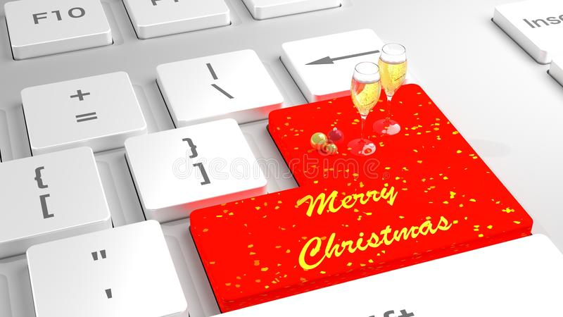 Merry Christmas Keyboard With Baubles And Champagne Stock