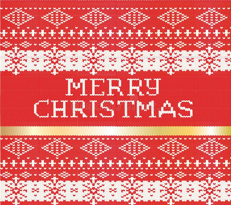 Merry Christmas knitted sweater pattern. with a gold stripe holiday new year vector card royalty free illustration