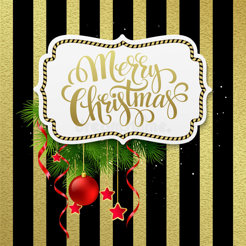 Merry christmas label with gold lettering. Vector royalty free illustration