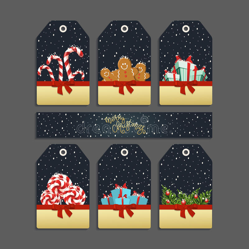Merry christmas labels royalty free illustration