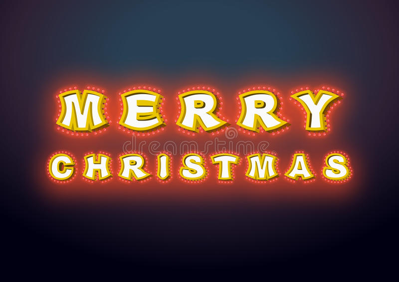 Merry Christmas with lamps vintage sign. Glowing letters. Vintage shiny lettering bulbs. garland for New Year. Retro pointer with. Light bulb. Luminous royalty free illustration