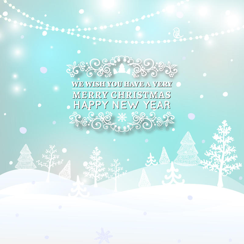 Merry Christmas Landscape, Christmas greeting card light vector background. Merry Christmas holidays wish design and royalty free illustration