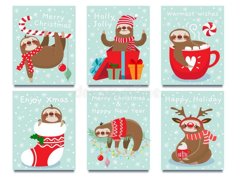 Merry Christmas lazy sloth. Happy New Year cute lazybones, xmas laziness and winter holidays greeting card vector. Merry Christmas lazy sloth. Happy New Year stock illustration