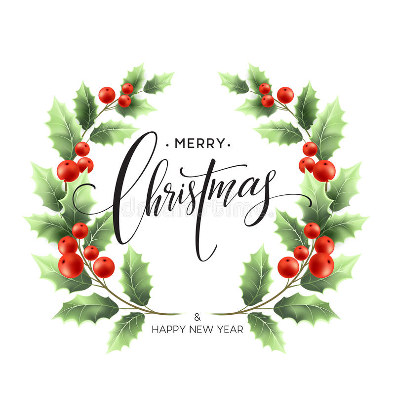 Merry Christmas lettering card with holly. Vector illustration stock illustration
