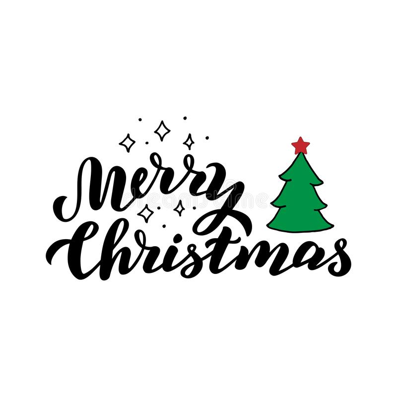 Merry christmas lettering card. Traditional decoration poster. Xmas hand drawn text with stars and christmas tree. royalty free illustration