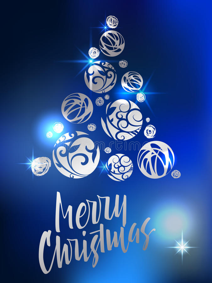 Merry Christmas lettering. Celebratory poster with Christmas tree balls . Modern hand lettering on a blue sparkling background. Vector illustration stock illustration