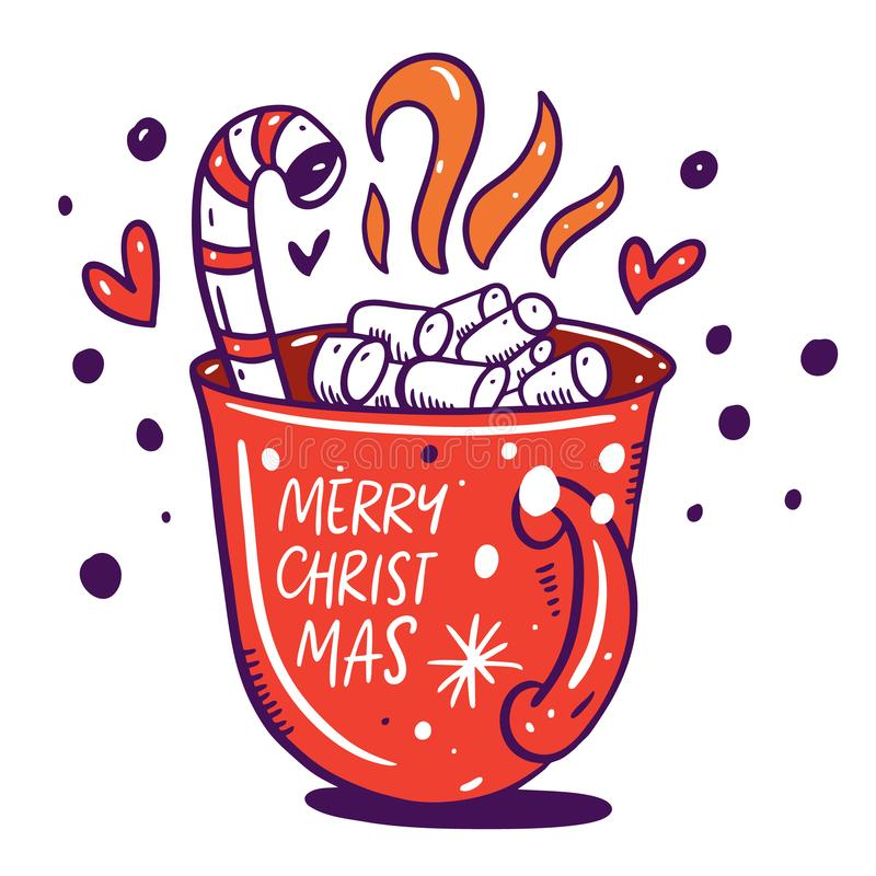Merry Christmas lettering with cocoa and marshmallow red cup. vector illustration