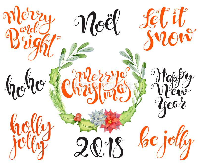 Merry Christmas Lettering Design Set with floral winter wreath Happy New Year, 2018 vector illustration