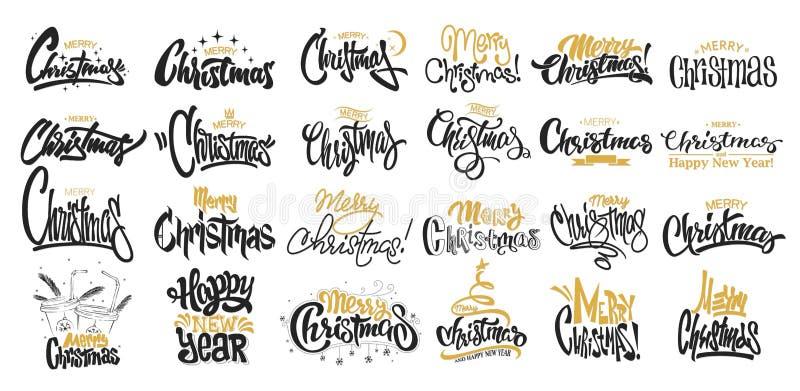 Merry Christmas Lettering Design Set. Vector illustration. Merry Christmas Lettering Design Set royalty free illustration