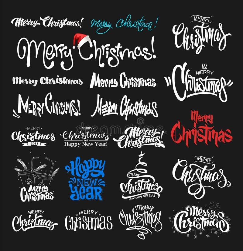 Merry Christmas Lettering Design Set vector illustration stock illustration