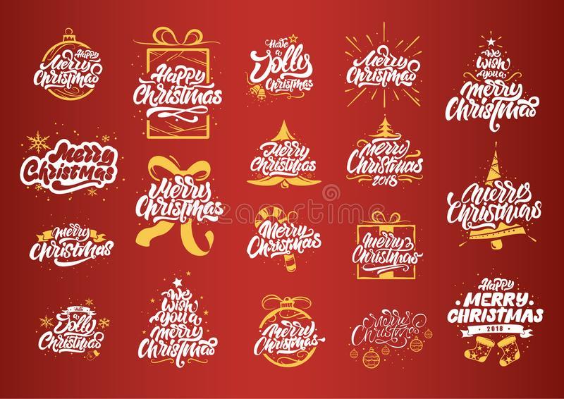 Merry Christmas lettering designs. Christmas tree yellow illustrations.Happy New Year typography. Lettering logos for postcard, vector illustration