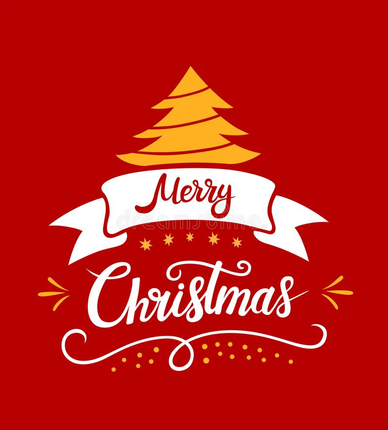 Merry Christmas lettering designs. Vector white and yellow illustrations with a Chrismas tree stars on a red background. vector illustration