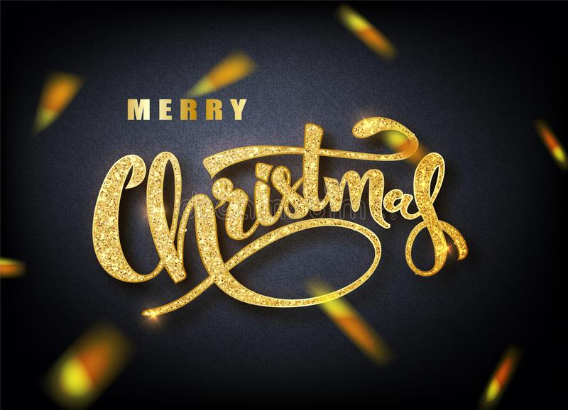 Merry Christmas lettering greeting card for holiday. Golden confetti. Calligraphy lettering New Year. Vector royalty free illustration