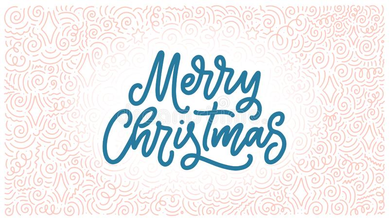 Merry christmas lettering in hand drawn style. Classic retro symbol. New year holiday greeting card. Vector design. Merry christmas lettering in hand drawn style vector illustration