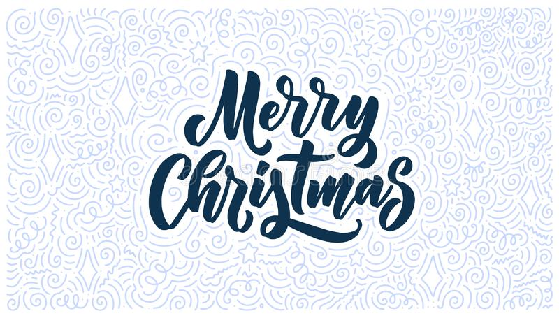 Merry christmas lettering in hand drawn style. Classic retro symbol. New year holiday greeting card. Vector design. Merry christmas lettering in hand drawn style royalty free illustration