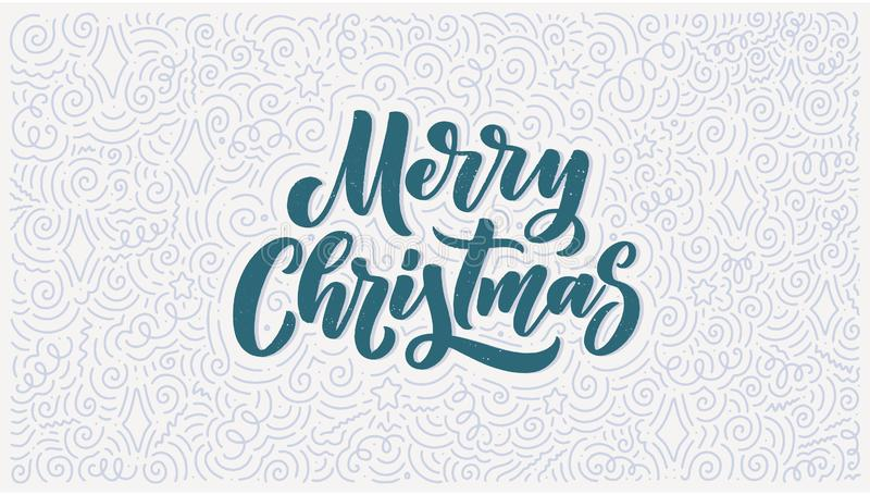 Merry christmas lettering in hand drawn style. Classic retro symbol. New year holiday greeting card. Vector design royalty free stock images