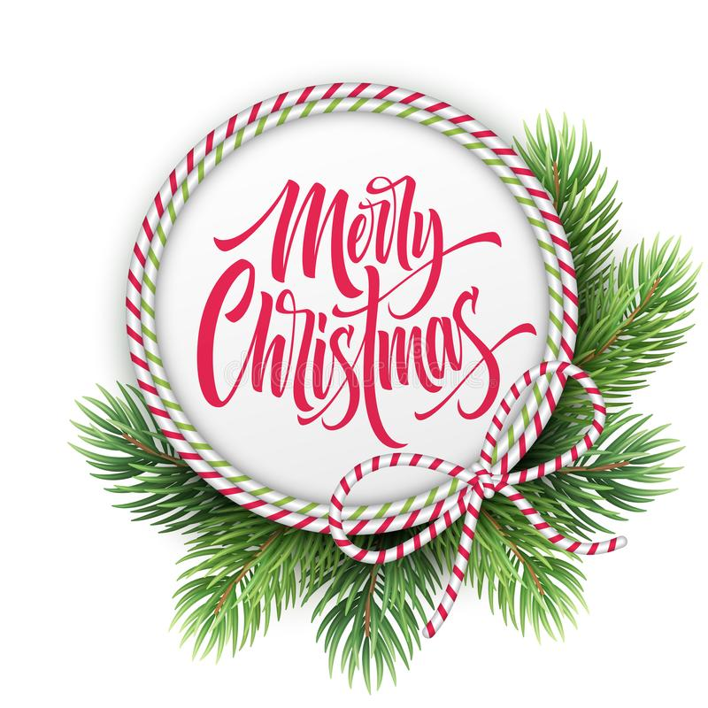 Free Merry Christmas Lettering In Circle Rope Frame Royalty Free Stock Photo - 126028125