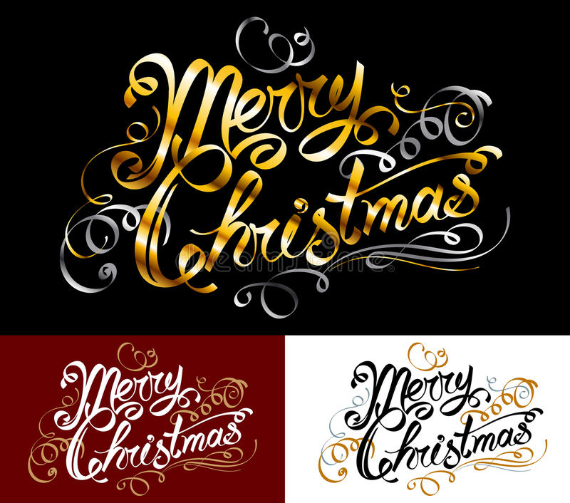 Merry Christmas lettering inscription title phrase greeting word. Merry Christmas text; Inscription with a congratulation; Handwritten letters; Hand-drawing of stock illustration