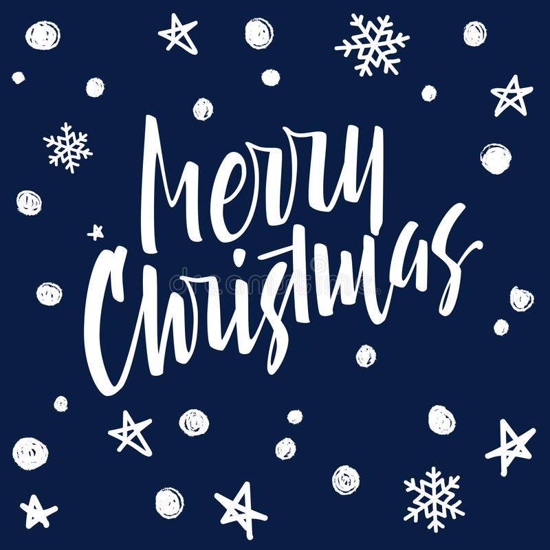 Merry Christmas lettering. Modern hand lettering on a blue back. Merry Christmas lettering. Hand written Merry Christmas poster. Modern hand lettering on a blue stock illustration