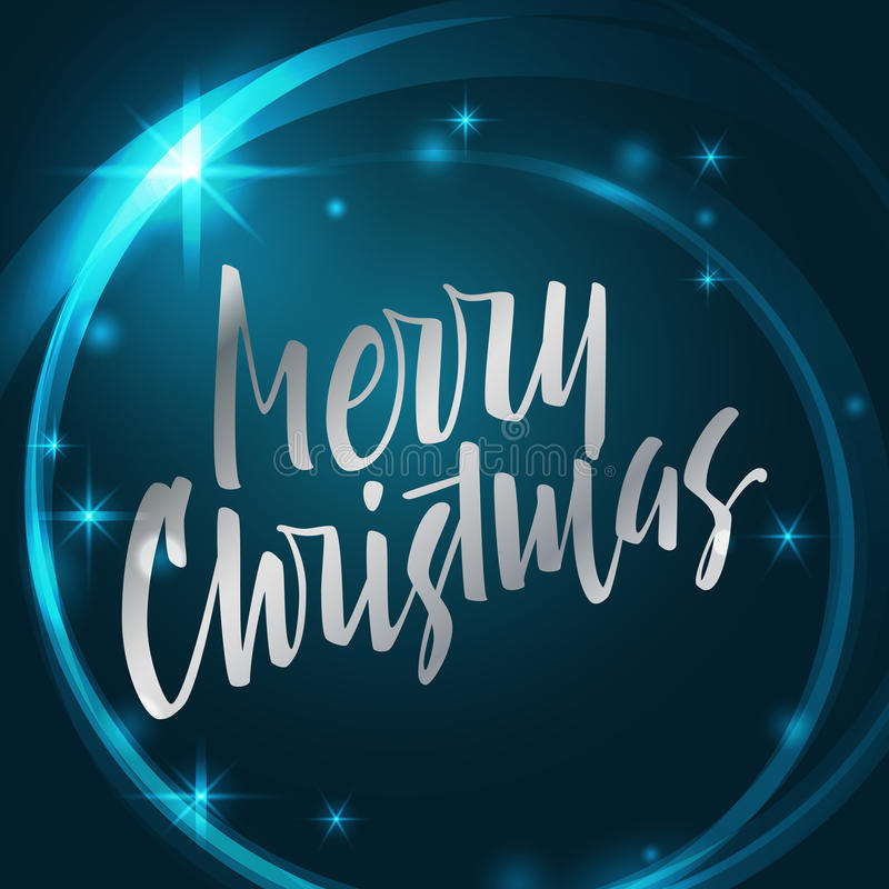 Merry Christmas lettering. Modern hand lettering on a turquoise. Merry Christmas lettering. Hand written Merry Christmas poster. Modern hand lettering on a stock illustration