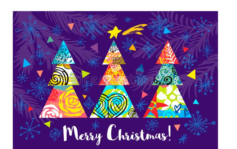 Merry Christmas lettering New Year greeting card. Christmas tree colorful decor. Seasons decoration snowflakes design royalty free illustration