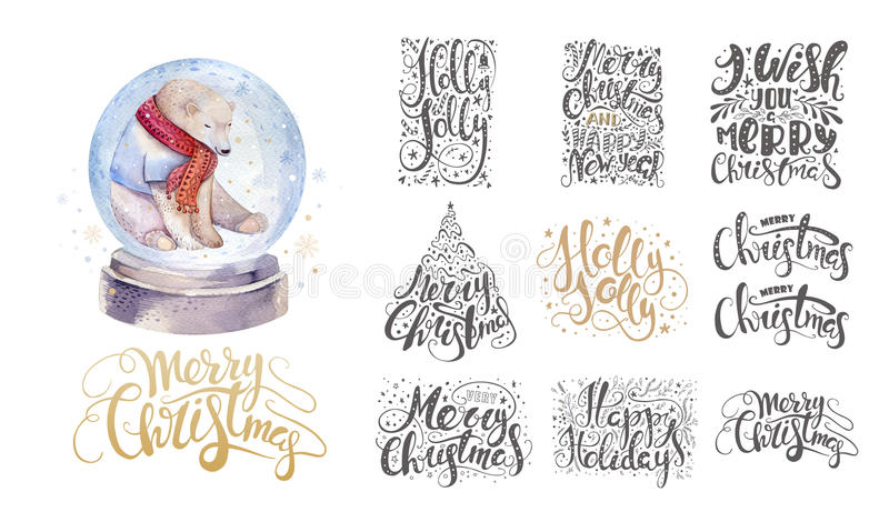 Merry christmas lettering over with snowflakes and bear. Hand dr vector illustration