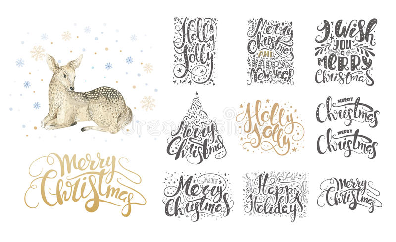Merry christmas lettering over with snowflakes and deer. Hand dr. Awn text, calligraphy for your design. xmas fawn design overlay elements isolated on white stock illustration