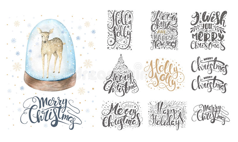 Merry christmas lettering over with snowflakes and deer. Hand dr vector illustration