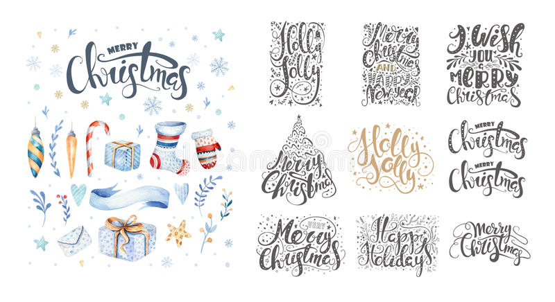 Merry christmas lettering over with snowflakes. Hand drawn text, calligraphy for your design. xmas design overlay elements. Isolated on white background vector illustration